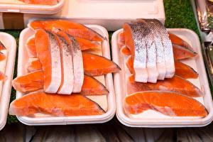 Картинка Рыба Лососи Кусок Еда