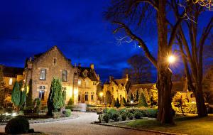 Обои Франция Дома Ландшафтный дизайн Отель Ночью Уличные фонари Деревья Abbaye Des Vaux De Cernay Города