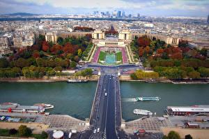 Картинка Франция Дома Реки Мост Париже Сверху Города