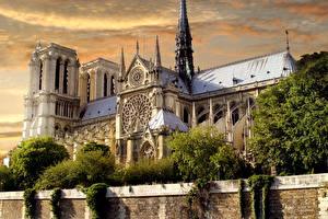 Картинки Франция Храмы Париж Старый Notre-Dame de Paris город