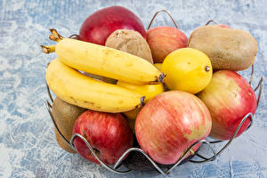 Картинки Фрукты Бананы Яблоки Лимоны Киви Еда