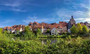 Фото Германия Здания Река Кустов Besigheim Города