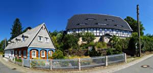Фотографии Германия Здания Поселок Улиц Забора Wehrsdorf Города