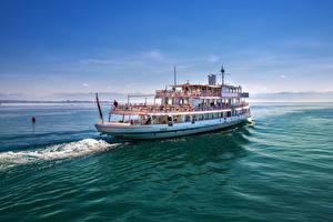 Фотографии Германия Озеро Речные суда Волны Lake Constance Природа