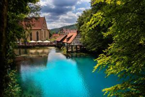 Картинка Германия Река Дома Blautopf in Blaubeuren Города