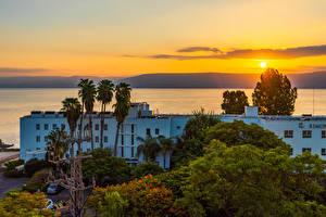 Фотографии Израиль Дома Рассветы и закаты Деревьев Galilee город