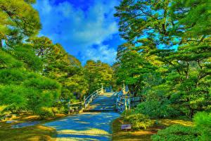 Фото Япония Киото Сады HDR Дизайна Лестницы Деревьев Imperial Palace gardens