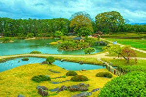 Фотографии Япония Парк Пруд HDRI Дизайна Дерево Okayama Korakuen Природа