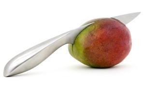 Обои Ножик Манго Белый фон Еда