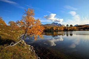 Фотографии Озеро Осень Норвегия Облака Отражение Møre og Romsdal Природа
