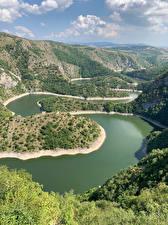 Обои Озеро Сербия Холм Каньона Uvac Canyon Природа