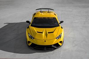 Фотографии Lamborghini Желтые Vorsteiner Performante Huracan 2019 Vicenzo Edizione Автомобили