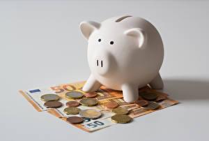 Картинки Деньги Монеты Купюры Евро Серый фон Свинья копилка