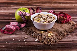 Картинки Мюсли Яблоки Доски Завтрак Мерная лента Продукты питания