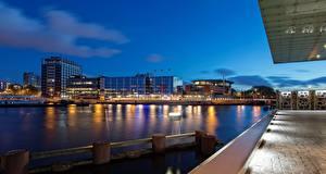 Фотографии Нидерланды Амстердам Вечер Водный канал Города