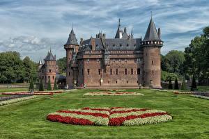 Фотографии Нидерланды Замок Ландшафтный дизайн Газоне De Haar Castle
