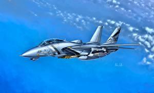 Фото Рисованные Истребители Самолеты Американские Grumman F-14D Super Tomcat VF-2 Авиация