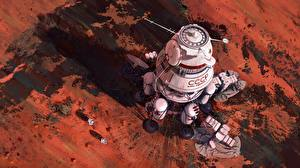 Обои для рабочего стола Рисованные Марс Корабли Советский союз Космос