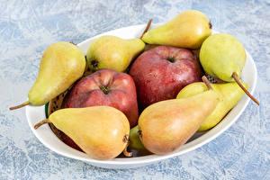 Фотографии Груши Яблоки Тарелка Продукты питания