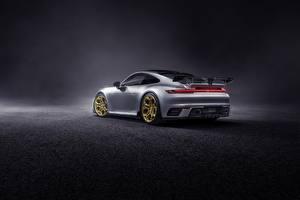Фото Порше Вид сзади Серебряный 911 Carrera TechArt 992 2019