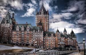 Картинки Квебек Канада Замки Отеля HDRI Château Frontenac, Ville de Québec Города