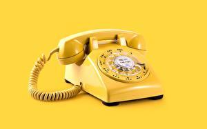 Фото Винтаж Желтый Телефоном Цветной фон