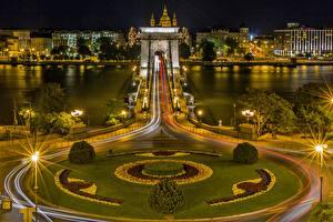 Фото Речка Мост Будапешт Венгрия Ночные Уличные фонари Danube, Chain bridge