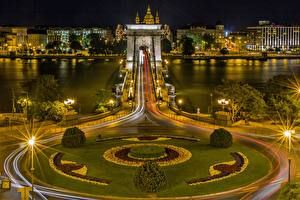 Фото Реки Мосты Будапешт Венгрия Ночь Уличные фонари Danube, Chain bridge