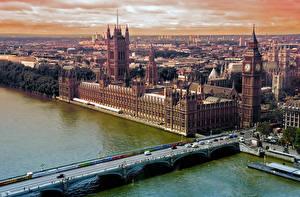 Фотографии Речка Мост Англия Здания Лондоне Биг-Бен город