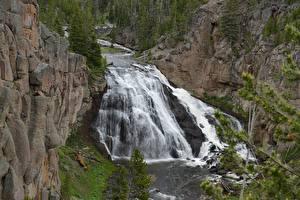 Обои Реки Водопады Парки США Скала Йеллоустон Wyoming Природа