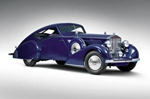 Фото Роллс ройс Винтаж Серый фон Купе Фиолетовые 1937 Phantom III Aero Coupe