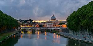 Картинки Рим Италия Мост Речка Вечер Ponte Sant'Angelo, Tiber город