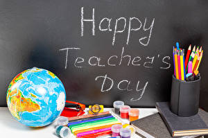 Фото Школа Праздники Канцелярские товары Инглийские Глобус Карандаши Happy Teacher's Day