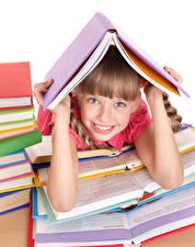 Фотографии Школа Девочка Улыбается Взгляд Руки Книга Дети