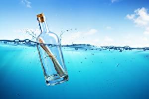 Фотография Море Воде Бутылки Письмо 3D Графика