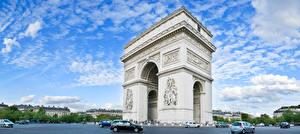 Фото Небо Франция Париж Арки Arc de Triomphe Города