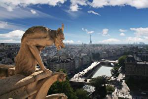 Фотографии Небо Здания Франция Скульптуры Демон Париж