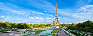 Фотография Небо Парки Париж Эйфелева башня Деревьев Города