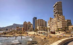 Фотографии Испания Дома Пляже Calp Valencia Города