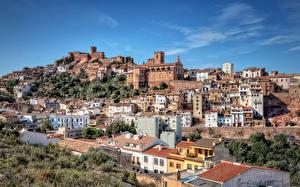 Фотографии Испания Здания Холмов Vilafamés Города