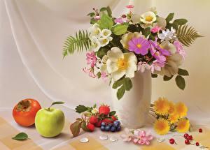 Фотографии Натюрморт Букет Яблоки Кувшины Вазе цветок