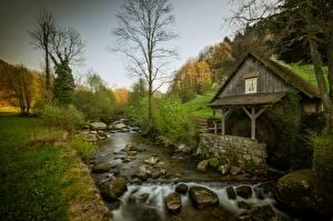Фотография Камень Речка Дерева Водяная мельница Природа