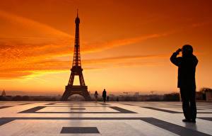 Фото Рассветы и закаты Люди Вечер Париж Эйфелева башня город