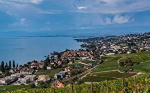 Картинки Швейцария Озеро Берег Lake Geneva Города