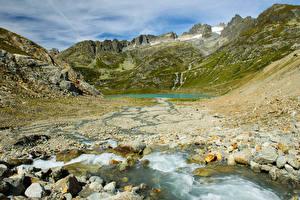 Картинка Швейцария Гора Озеро Камень Stein glacier Природа