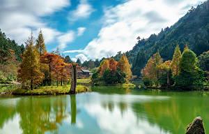 Обои Тайвань Горы Осень Реки Деревья Mingchi Природа