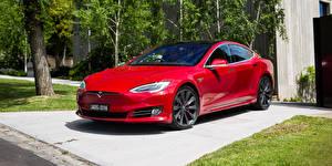 Обои Tesla Motors Красная Металлик 2016-17 Model S P90D машины