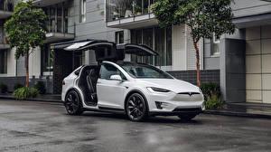 Обои Тесла моторс Белый 2017-19 Model X P100D Автомобили