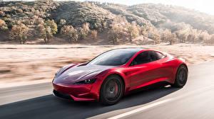 Картинка Tesla Motors Красная Скорость 2018-19 Roadster машина
