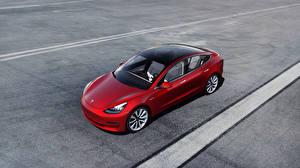 Картинка Tesla Motors Красный Сверху 2018–19 Model 3 Автомобили 3D_Графика